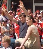 Pavel Datsyuk waves to fans during the parade honoring the Red Wings' 2002 Stanley Cup Championship.