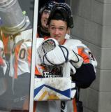 Zack Bowman prepares to lead the Flint Firebirds on to the ice for the start of the third period.