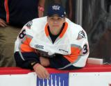 Flint Firebirds' backup goalie Kyle Keyser sits on the bench during the third period.