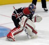 Evan Cormier of the Saginaw Spirit gets set to face a shootout attempt in a game against the Flint Firebirds.
