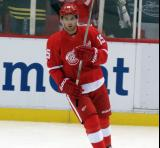 Riley Sheahan skates during pre-game warmups.
