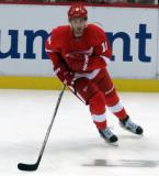 Riley Sheahan skates near the boards during pre-game warmups.