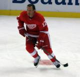 Brad Richards skates in the neutral zone during pre-game warmups.