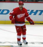 Tomas Tatar skates in the neutral zone during pre-game warmups.