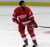 Kyle Quincey skates during pre-game warmups.