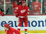 Johan Franzen bounces a puck on his stick during pre-game warmups.