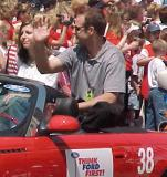 Third-string goalie Jason Elliott waves to fans during the parade honoring the Red Wings' 2002 Stanley Cup Championship.