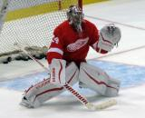 Petr Mrazek comes out to the edge of his crease to face a shot during pre-game warmups.