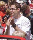 Jiri Fischer claps in celebration during the parade honoring the Red Wings' 2002 Stanley Cup Championship.