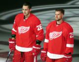 Tomas Jurco and Mike Green stand at the blue line during player introductions at the Red Wings' home opener.