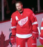 Niklas Kronwall stands at the blue line during player introductions at the Red Wings' home opener.