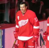 Pavel Datsyuk stands at the blue line during player introductions at the Red Wings' home opener.