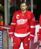 Henrik Zetterberg stands at the blue line during player introductions at the Red Wings' home opener.