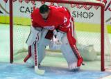 Jimmy Howard crouches in his crease prior to the singing of the national anthems.