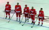 Justin Abdelkader, Jonathan Ericsson, Henrik Zetterberg, Niklas Kronwall, and Dylan Larkin stand at the blue line for the singing of the national anthems.