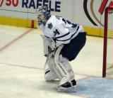 James Reimer of the Toronto Maple Leafs gets set in his crease during a game against the Detroit Red Wings.