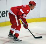 Justin Abdelkader gets set for a faceoff.