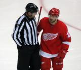 Tomas Tatar talks to an official during a stop in play.