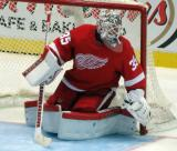 Jimmy Howard moves over to cover his left post.