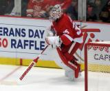 Jimmy Howard plays the puck behind his net.