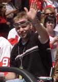 Tomas Holmstrom waves at fans during the parade honoring the Red Wings' 2002 Stanley Cup Championship.
