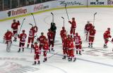 The Red Wings raise their sticks to salute the fans at Joe Louis Arena.