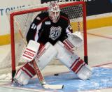 Jared Coreau gets set in the crease during pre-game warmups before a Grand Rapids Griffins game.