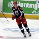 Louis-Marc Aubry skates in the neutral zone during pre-game warmups before a Grand Rapids Griffins game.