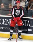 Anthony Mantha stands at the boards during pre-game warmups before a Grand Rapids Griffins game.