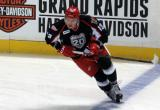 Marek Tvrdon skates at the blue line during pre-game warmups before a Grand Rapids Griffins game.