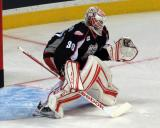 Tom McCollum comes out to the top of his crease during pre-game warmups before a Grand Rapids Griffins game.
