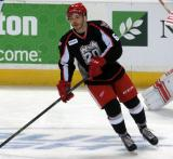 Robbie Russo skates during pre-game warmups before a Grand Rapids Griffins game.