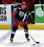 Tomas Nosek looks to make a pass during pre-game warmups before a Grand Rapids Griffins game.