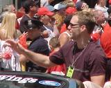 Kirk Maltby waves to fans during the parade honoring the Red Wings' 2002 Stanley Cup Championship.
