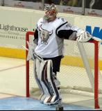 Calvin Pickard of the San Antonio Rampage stands in his crease during a stop in play in a game against the Grand Rapids Griffins.