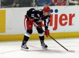 Marek Tvrdon lines up at left wing for a faceoff during a Grand Rapids Griffins game.