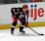 Andy Miele lines up at left wing for a faceoff during a Grand Rapids Griffins game.