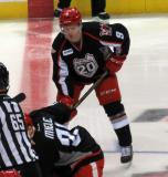 Mark Zengerle lines up at right wing for a faceoff during a Grand Rapids Griffins game.