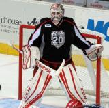 Tom McCollum stands in his crease during a stop in play in a Grand Rapids Griffins game.