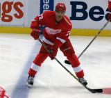 Andreas Athanasiou skates along the blue line during pre-game warmups.