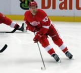 Darren Helm skates during pre-game warmups.
