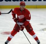 Justin Abdelkader skates with a puck during pre-game warmups.