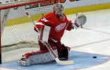 Jimmy Howard gets set to make a stop during pre-game warmups.