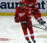 Andreas Athanasiou skates in the neutral zone during pre-game warmups.