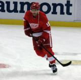 Joakim Andersson skates in the neutral zone during pre-game warmups.