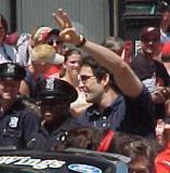 Brendan Shanahan waves to fans during the parade honoring the Red Wings' 2002 Stanley Cup Championship.