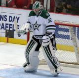 Kari Lehtonen of the Dallas Stars gets set in his crease during pre-game warmups before a game against the Detroit Red Wings.