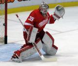 Jimmy Howard comes out to the top of his crease during pre-game warmups.