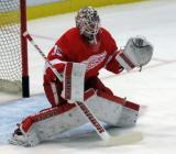 Jimmy Howard faces down a shot during pre-game warmups.