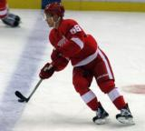 Teemu Pulkkinen skates across the blue line during pre-game warmups.